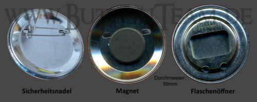 56mm Button beim Buttonteam Sicherheitsnadel, Magnet, Öffner